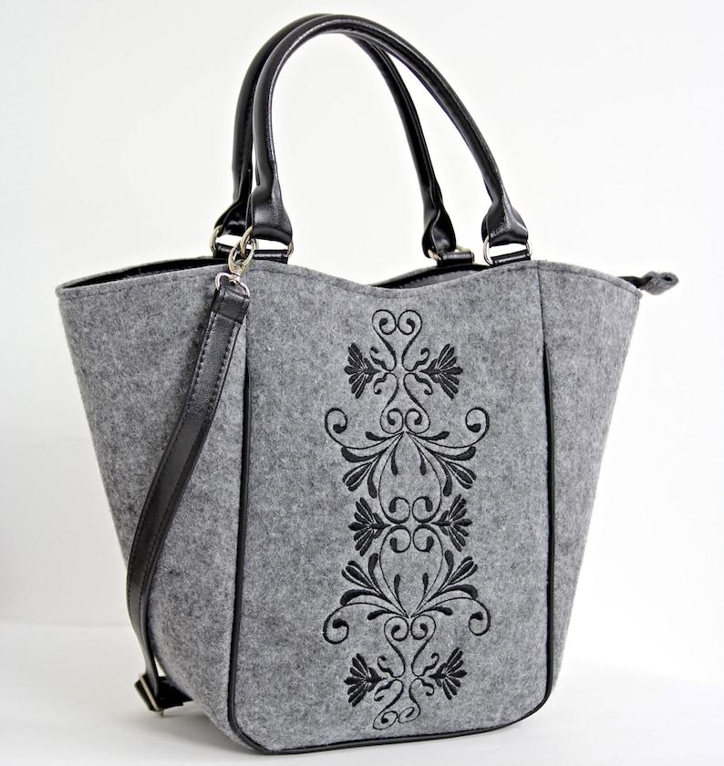Cross Body Felt Purse  Felt shoulder bag Grey felt bag Felt handbag Women handbag Felt bag  Felt handbag