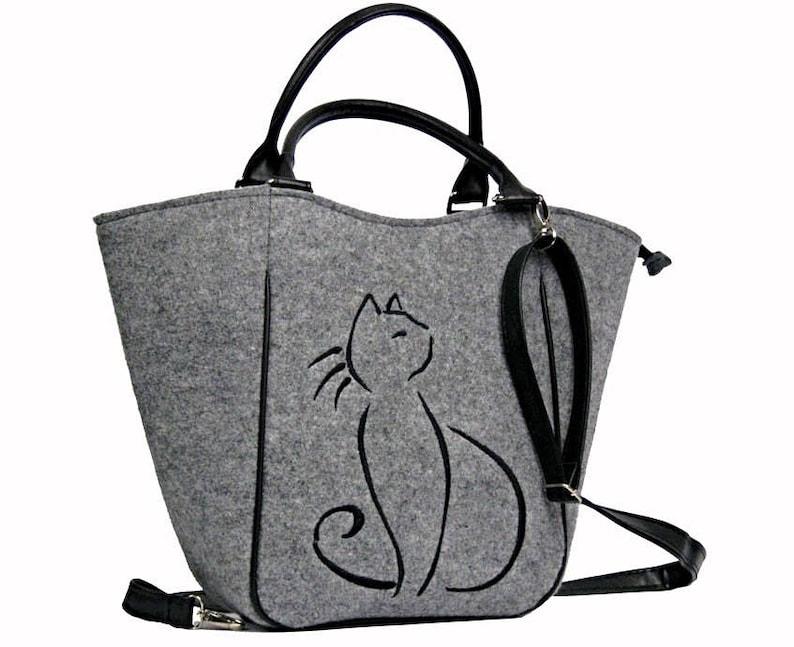 Felt purse everyday purse handbag felt handbag shopping bag Cat bag  Cat lover gifts Felt bag  gray felt bag gray felt bag large felt bag