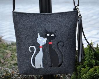 FELT BAG,Felt crossbody bag, Women felt bag,  Homemade, Felt shoulder bag, Cat design bag
