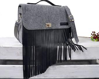 FRINGE BAG,  laptop bag, messenger bag, 15-inch Macbook case, crossbody bag, felt bag, office bag, felt satchel, Macbook Pro 15 in case