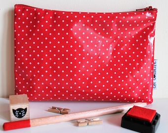 Cover 18 x 12 cm fabric coated red dots