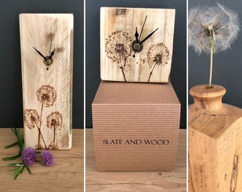 Large or small dandelion wooden wall clock- Handmade