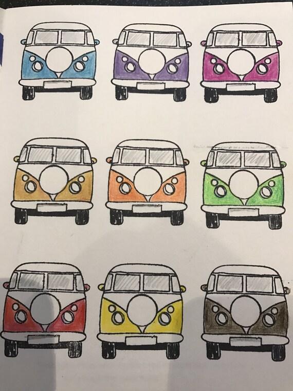 VW Camper Van Cartoon Wall Clock