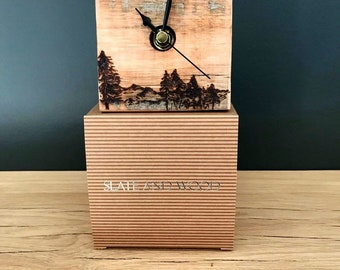 LANDSCAPE- pyrography-small oiled wooden clock- handmade-boxed