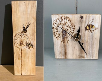 DANDELION and BEE Handmade pyrography wooden wall clock- boxed-