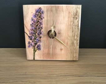 Lavender rustic clock- small or long wooden clock- oiled wood clock- pallet wood clock -boxed clocks - square clock