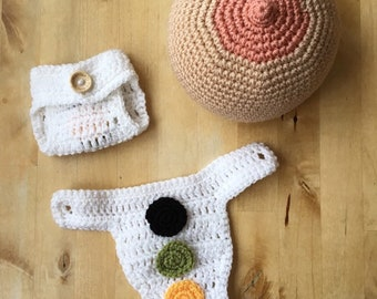 Midwife. Doula. Hypnobirthing. Student midwife. Breastfeeding. Crochet breast and first days of poop nappy/diaper set.