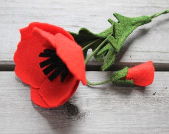 RED POPPY Wool blend felt flower of REMEMBERANCE