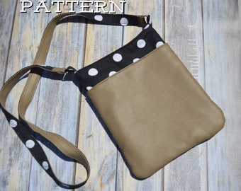 Penny Crossbody Purse PDF Sewing Pattern - 3 sizes included - Contains exterior slip pocket and interior zipper pocket options
