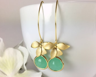 Mint Earrings Gold Flower Earrings Mint Green Long Dangle Drop Earrings Gold Green Orchid Earrings Wedding Bridal Earrings Bride Gift Idea