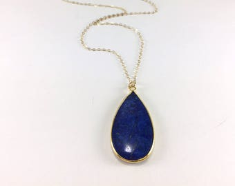 Gold Lapis Necklace Lapis Pendant Necklace Lapis Lazuli Jewelry Natural Gemstone Layering Boho Necklace Blue Gold Necklace 14K Gold Fill
