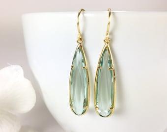 Aquamarine Earrings Gold Aqua Long Teardrop Earrings Aquamarine Dangle Drop Earrings Minimalist Blue Wedding Earrings Aquamarine Jewelry