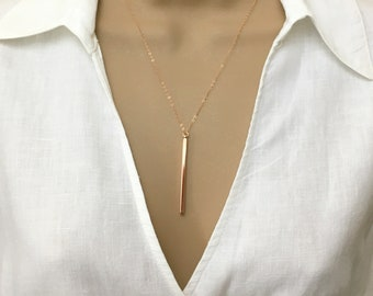 Gold Bar Necklace Vertical Bar Lariat Necklace Y Necklace