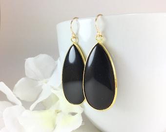 6154bdc87 Simple Black Earrings for Women Black Onyx Earrings Black Teardrop Earrings  Black Dangle Earring Everyday Black Gold Earrings Onyx Gemstone