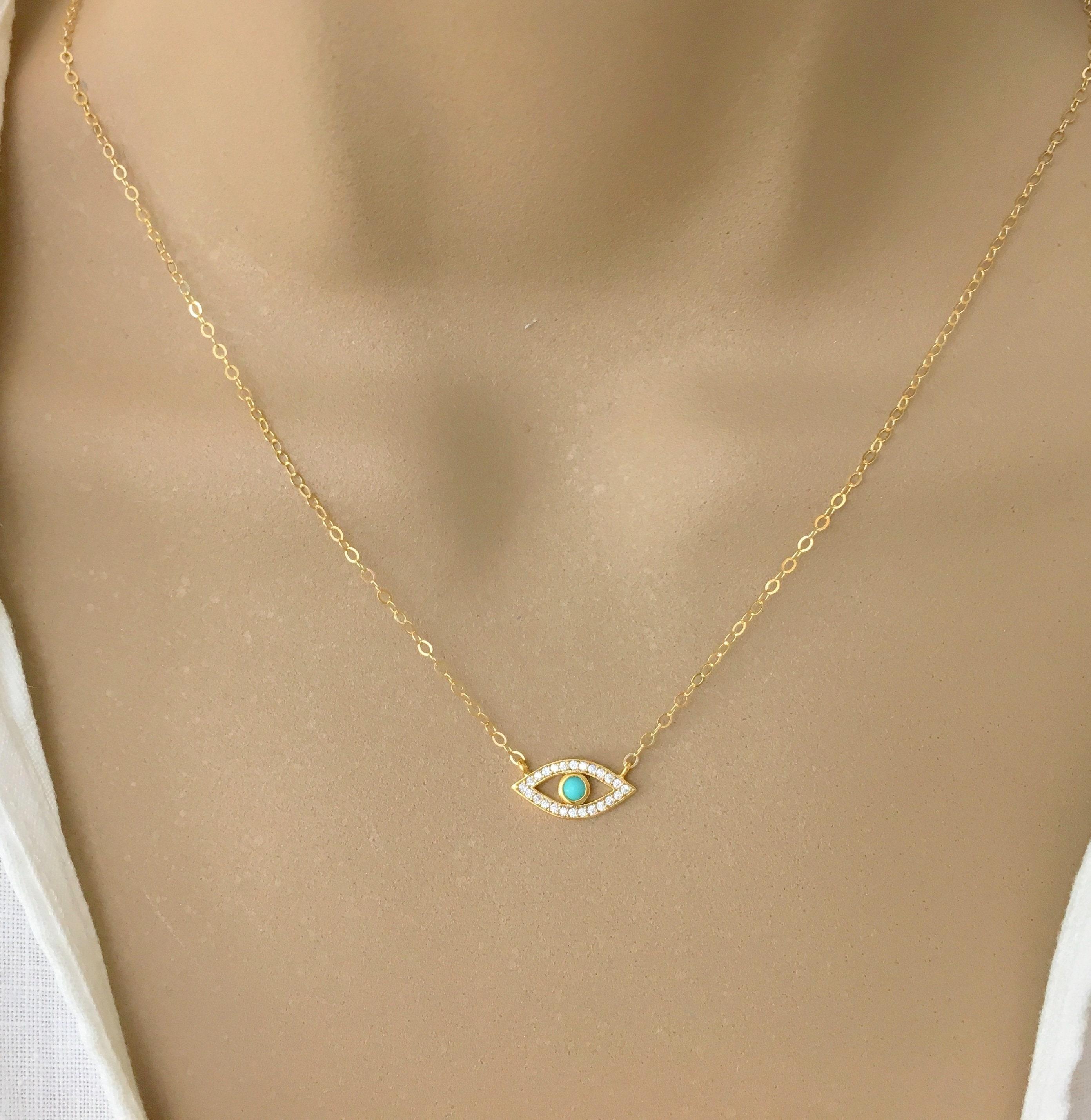 Greece. Micro Pave Pendant Minimalist Evil Eye Necklace Dainty Necklace Personalize Jewelry 925 Silver Blue /& White Enamel Pendant
