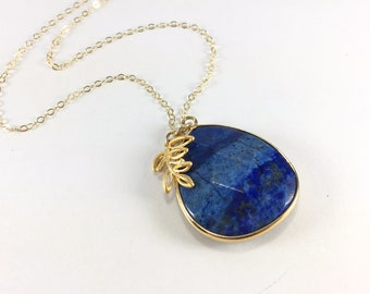 Lapis Necklace Gold Lapis Lazuli Pendant Necklace Blue Gemstone Necklace Gemstone Pendant Charm Necklace Lapis Jewelry Delicate Gold Filled