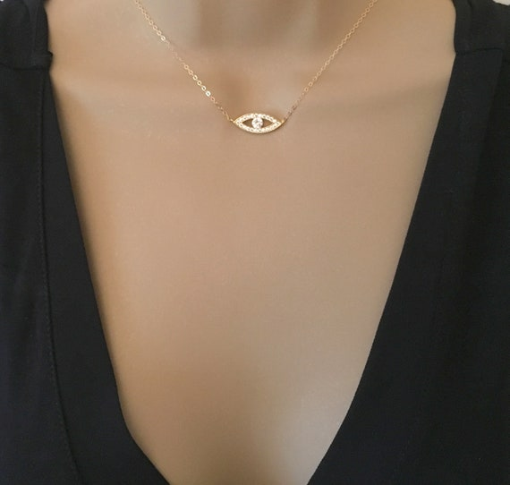 Protection Necklace AD40 The Silver Plaza Minimalist Necklace Sterling Silver Rose Gold Necklace Gold Evil Eye Necklace