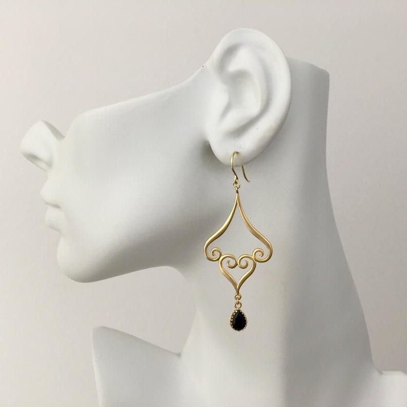 7aec8de5cca Black Gold Earrings Matte Gold Filigree Earrings Moroccan Black Teardrop  Dangle Earrings Long Earrings Black Onyx Drop Earrings Gold Black