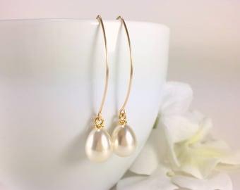 Simple Pearl Earrings Pearl Drop Earrings Teardrop Pearl Wedding Bridal Earrings Long Pearl Dangle Bridesmaid Earring Gold Silver Rose Pearl
