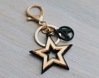 Personalised star key chain, bag charm, first name letter, bag jewellery, gold mirror, chloe inspired, fashion bag, gold pendant