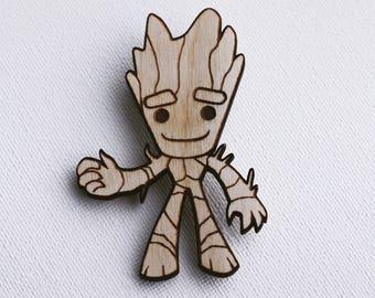 Avengers, Baby Groot pin, Guardians of the Galaxy, natural wood pin, brooch, marvel comics, superhero, accessory, geek