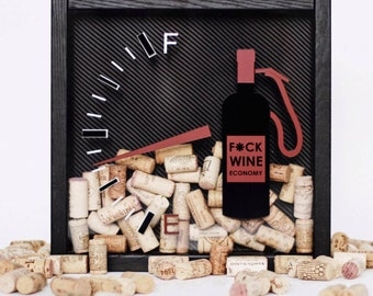 "Wine corks collector shadow box ""Fuck wine economy"" carbon, natural solid oak, black red, fuel station, gasoline, wine frame, wood frame,"