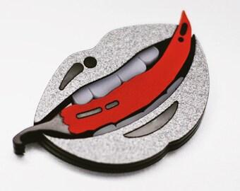 Bite chilli grey shiny lips acrylic pin brooch fashion for bag, backpack, jacket pop - art style accessory glossy