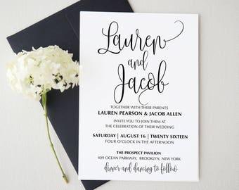 Wedding Invitation Template . Printable Wedding Invitation Suite. Wedding  Invitation Suite. Wedding Invitation Set. MADE TO ORDER Invitation