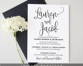 Wedding invitation template download Printable Simple Wedding Invite Editable Wedding Invitation Instant Download Edit with TEMPLETT