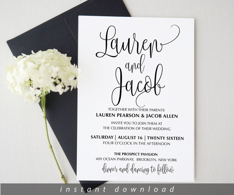 Wedding invitation template . Printable Wedding Invitation image 0