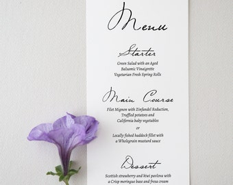 Printable Wedding Menu - Wedding Menu Template - Cheap Wedding Menu - Menu Template - Editable Menu - Romantic Script- Ms Word
