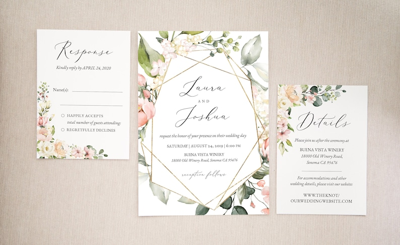 Blush and Gold Wedding invitation template Set  Printable Wedding  Invitation  Wedding Invitation download  Floral Wedding Invitation diy