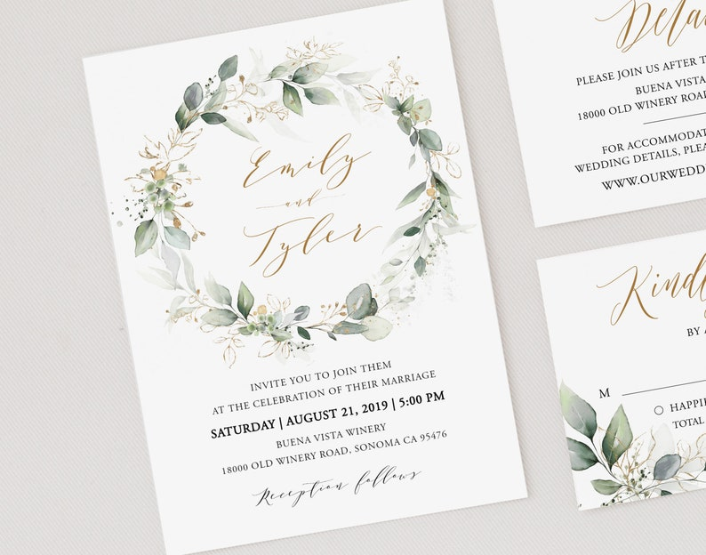 Printable Wedding Invite Greenery Wedding Invitation Printable Edit with TEMPLETT Wedding invitation template Editable Wedding Invitation
