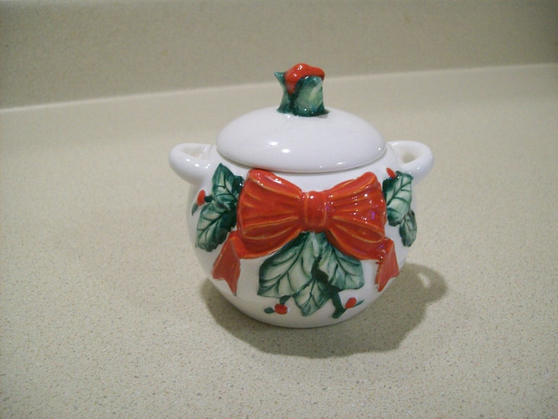 Vintage The Haldon Group Christmas Holly and Bow White Porcelain Sguar Bowl with Lid 1986