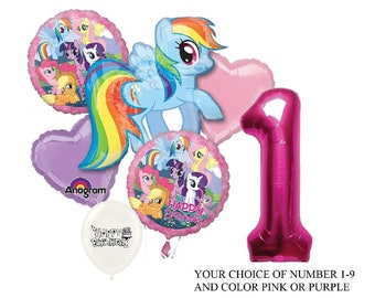 My Little Pony Birthday Party Balloon Bouquet Bundle With Number Color Option