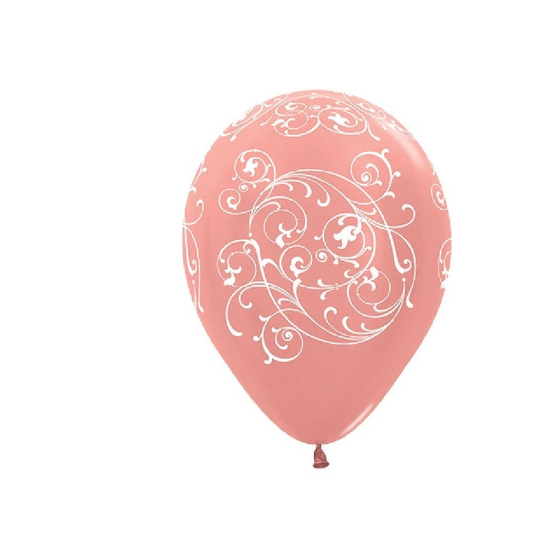 Baby Girl Birthday Decorations Party Supply Girl Baby 11 Rose Gold Filigree Latex Balloons Rose Gold Bridal Showers Rose Gold Weddings
