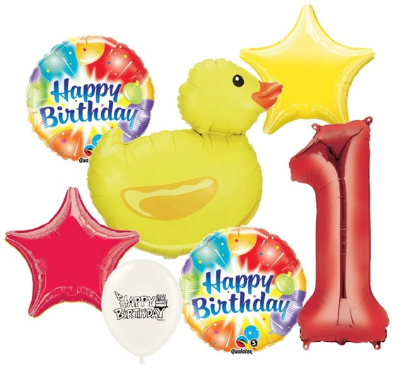 Duck Birthday Balloon Bouquet with Option to Add Red Number 1-9