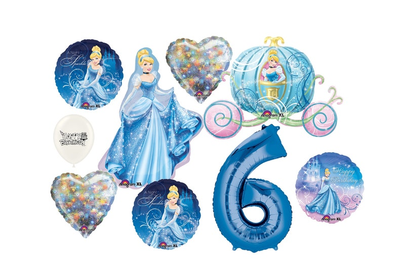 Ultimate Cinderella Birthday Party Decorations Balloon Bundle With Your Choice of NumberColor