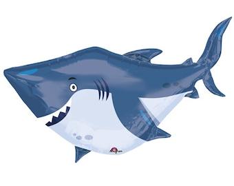 40 pouces grand requin blanc Supershape Jumbo Mylar Balloon, neuf, les enfants partis, océan, adultes, adolescents, décorations d'anniversaire