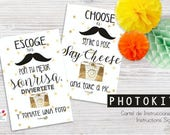 Photoprops Instructions Sign, photocall, photoboth, party, printable, instant download