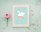 Swan mint stars & flowers  / swan party, swan party decor, Table sign,  Wall Deco sign ,party decor, cisne, Digital Print / INSTANT DOWNLOAD