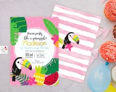 Toucan Tropical Custom Party Invite / Party Invitation, Party printable, Birthday, Party,girl,Digital Print,toucan,tropical, fruitty