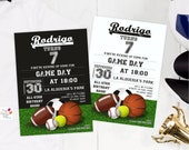 140 All Sports Custom Party Invitation / digital print