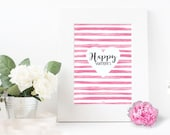 Happy Valentine printable sign, wall art / INSTANT DOWNLOAD