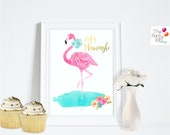 Let's Flamingle! flamingo party print- Deco sign / party decor, flamingo,  summer, Party , Typography Art, Digital Print / INSTANT DOWNLOAD