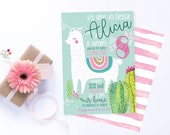Llama Cactus Custom Party Invite/digital print