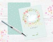 Swan & flowers mint FILL ...