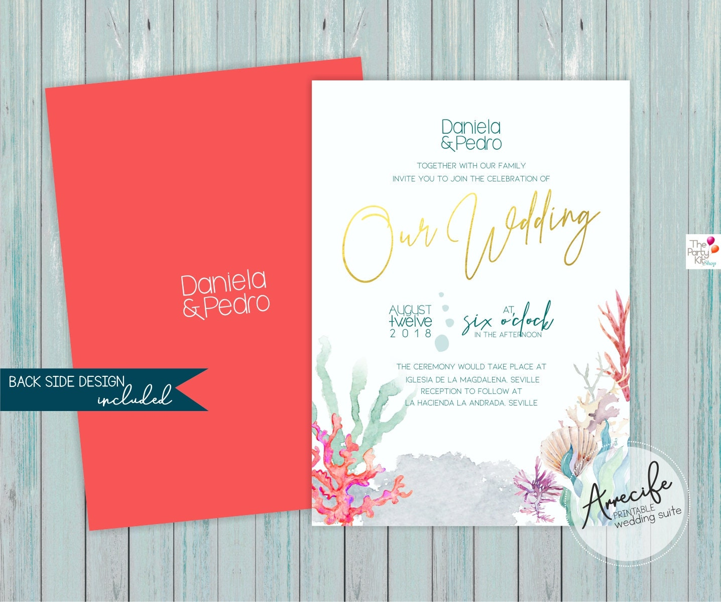 Beach Wedding Invitation Suite / Save the date RSVP card | Etsy