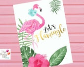 Flamingo party sign/ INSTANT DOWNLOAD