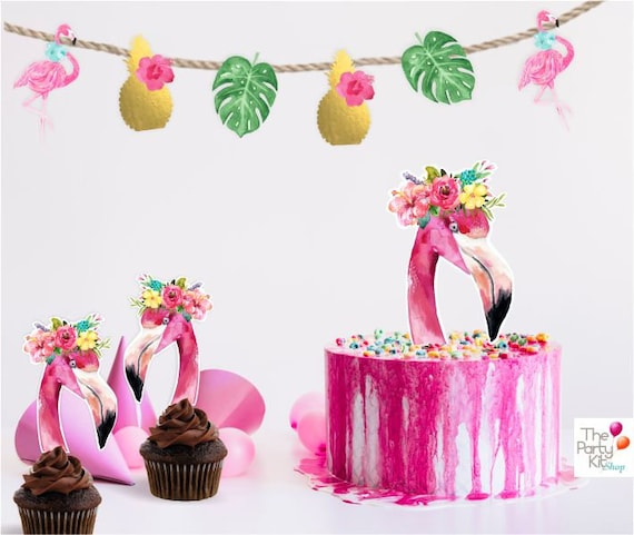 photo about Printable Cake Toppers identified as Flamingo printable Cake Topper/ Fast Down load